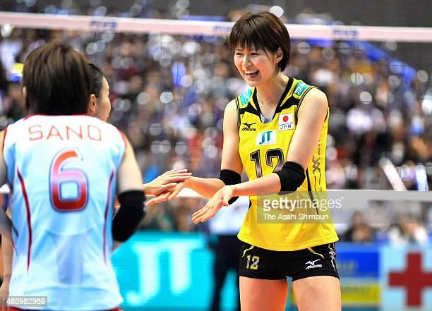 Saori Kimura of Japan celebrates winning the FIVB Volleyball Women's World Grand Champions Cup match between Japan and Thailand at Tokyo Metropolitan...