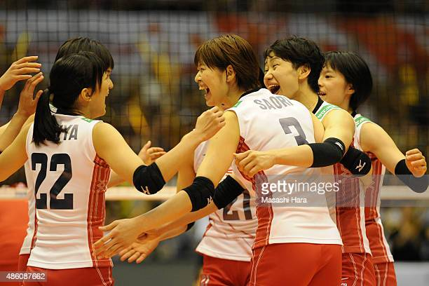 Saori Kimura of japan celebrates with teammates during the match between Japan and South Korea during the FIVB Women's Volleyball World Cup Japan...