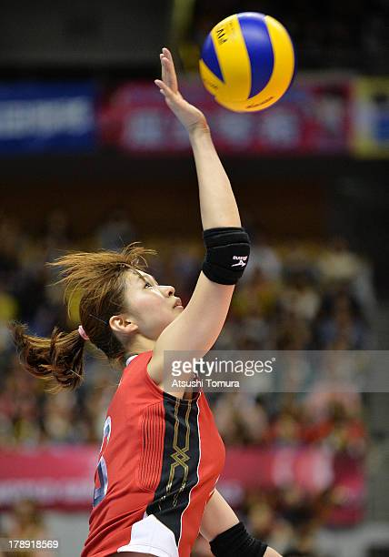 Saori Kimura of Japan in action during day four of the FIVB World Grand Prix Sapporo 2013 match between Japan and China at Hokkaido Prefectural...