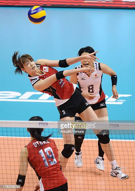 Saori Kimura of Japan in action during day one of the FIVB World Grand Prix Sapporo 2013 match between Japan and Italy at Hokkaido Prefectural Sports...