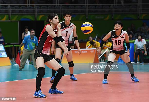 Saori Kimura of Japan in action during the Women's Quarterfinal match between Japan and The United States on day 11 of the Rio 2106 Olympic Games at...