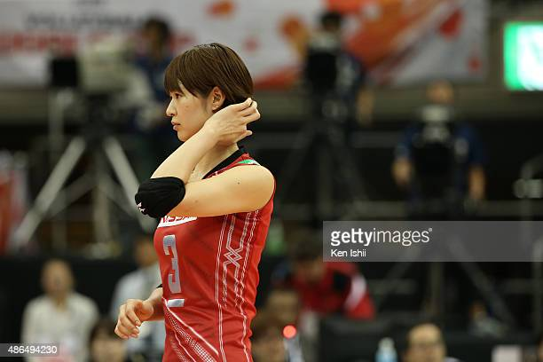 Saori Kimura of Japan looks on in the match between Japan and Algeria during the FIVB Women's Volleyball World Cup Japan 2015 at Nippon Gaishi Hall...