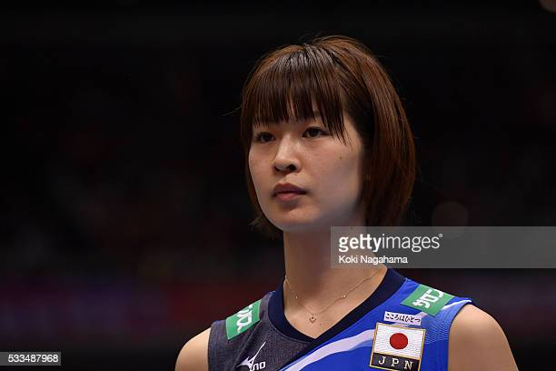 Saori Kimura of Japan looks on prior to the Women's World Olympic Qualification game between Netherlands and Japan at Tokyo Metropolitan Gymnasium on...