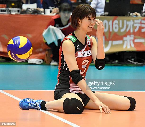 Saori Kimura of Japan reacts after fails to receive the ball during the Women's World Olympic Qualification game between Japan and Thailand at Tokyo...