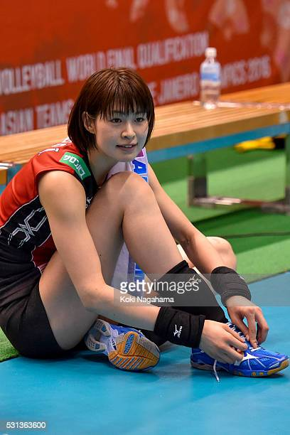 Saori Kimura of Japan reacts after winning the Women's World Olympic Qualification game between Japan and Peru at Tokyo Metropolitan Gymnasium on May...