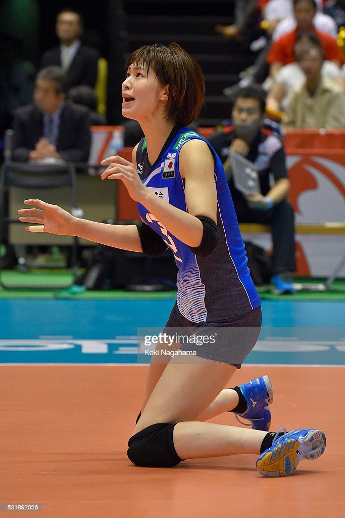 Saori Kimura #3 of Japan reacts during the Women's World Olympic Qualification game between South Korea and Japan at Tokyo Metropolitan Gymnasium on May 17, 2016 in Tokyo, Japan.