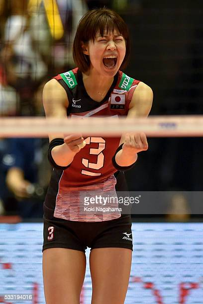 Saori Kimura of Japan reacts during the Women's World Olympic Qualification game between Japan and Italy at Tokyo Metropolitan Gymnasium on May 21...