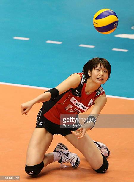Saori Kimura of Japan receives the ball during the FIVB Women's World Olympic Qualification tournament match between Japan and Thailand at Yoyogi...