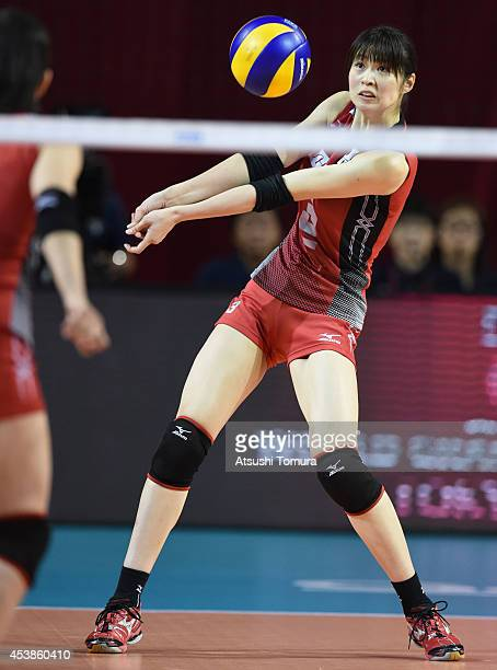 Saori Kimura of Japan recieves the ball against Russia during the FIVB World Grand Prix Final Group 1 on August 20 2014 in Tokyo Japan