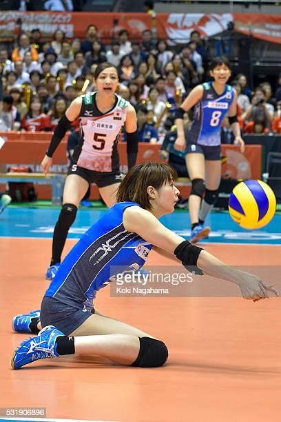 Saori Kimura of Japan recieves the ball during the Women's World Olympic Qualification game between South Korea and Japan at Tokyo Metropolitan...