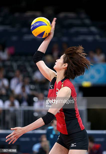 Saori Kimura of Japan serves the ball against Korea during the Women's Volleyball on Day 15 of the London 2012 Olympic Games at Earls Court on August...