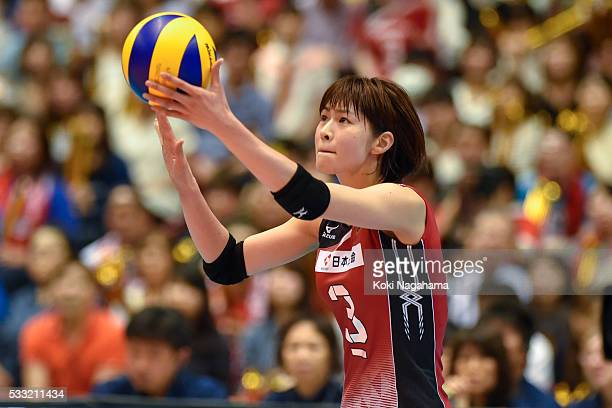 Saori Kimura of Japan serves the ball during the Women's World Olympic Qualification game between Japan and Italy at Tokyo Metropolitan Gymnasium on...