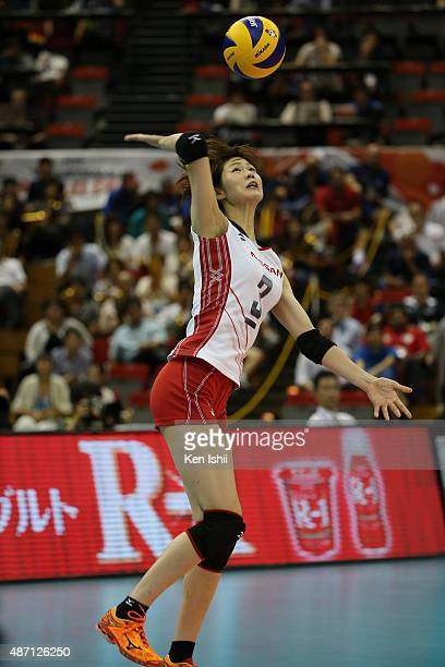 Saori Kimura of Japan serves the ball in the match between Japan and China during the FIVB Women's Volleyball World Cup Japan 2015 at Nippon Gaishi...