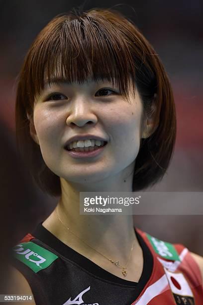 Saori Kimura of Japan smiles after getting their team's qualification for the Rio de Janeiro Olympic in the Women's World Olympic Qualification game...