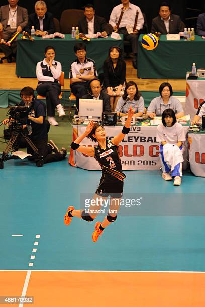 Saori Kimura of Japan spikes during the match between Japan and Serbia during the FIVB Women's Volleyball World Cup Japan 2015 at Sendai City...