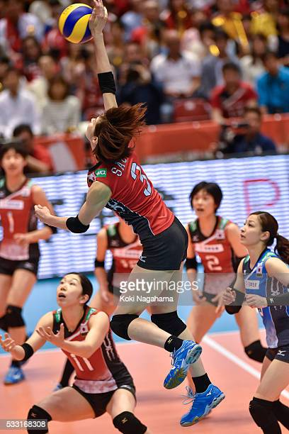Saori Kimura of Japan spikes the ball during the Women's World Olympic Qualification game between Japan and Italy at Tokyo Metropolitan Gymnasium on...