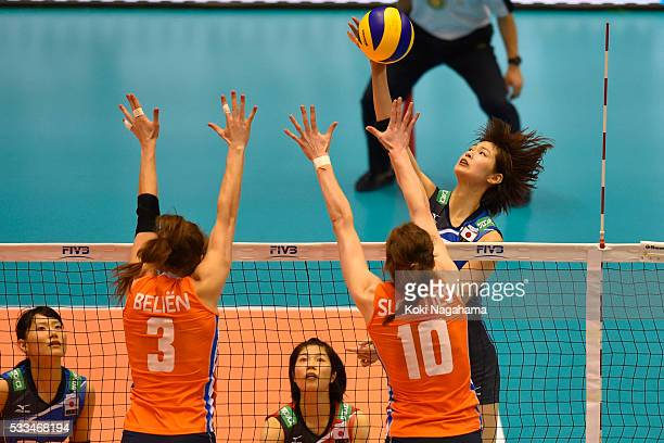 Saori Kimura of Japan spikes the ball during the Women's World Olympic Qualification game between Netherlands and Japan at Tokyo Metropolitan...