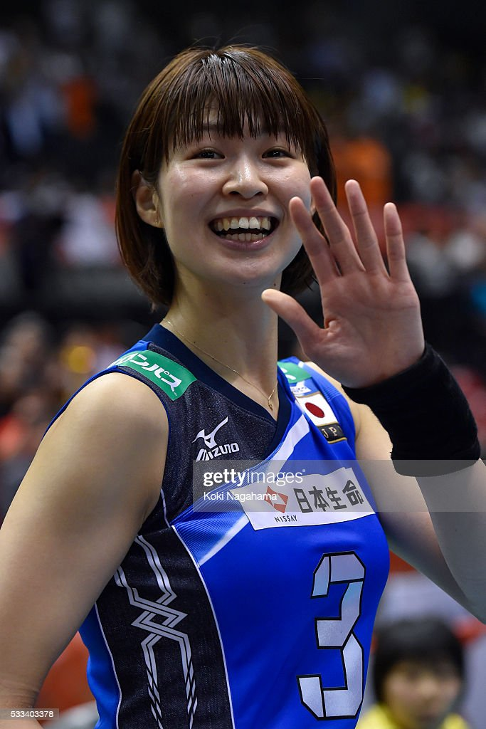 Saori Kimura #3 of Japan waves for fans after winning the Women's World Olympic Qualification game between Netherlands and Japan at Tokyo Metropolitan Gymnasium on May 22, 2016 in Tokyo, Japan.