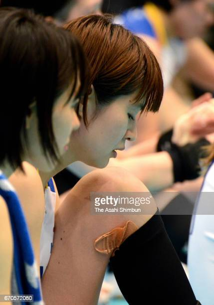 Saori Kimura of Toray Arrows is seen on the bench during the VPremier League Women's Final 6 between NEC Red Rockets and Toray Arrows at Yokohama...