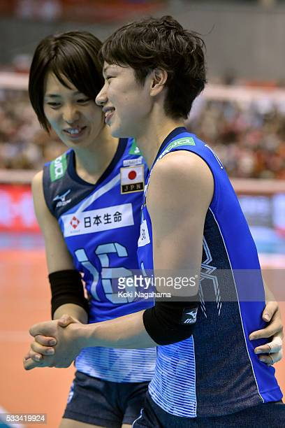 Saori Sakoda and Miyu Nagaoka of Japan shake hands after winning the Women's World Olympic Qualification game between Netherlands and Japan at Tokyo...