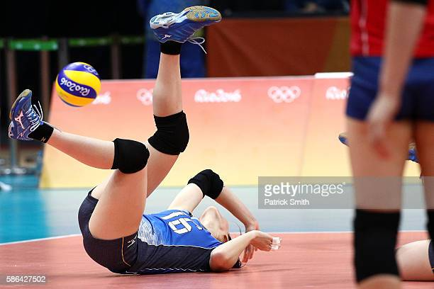 Saori Sakoda of Japan cannot return a shot against Korea during the Women's Preliminary Pool A match between Japan and Korea on Day 1 of the Rio de...