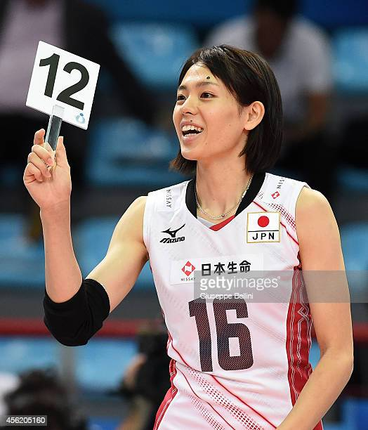 Saori Sakoda of Japan during the FIVB Women's World Championship pool D match between Japan AND Puerto Rico on September 27 2014 Bari Italy