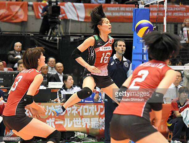 Saori Sakoda of Japan is blocked during the Women's World Olympic Qualification game between Japan and Thailand at Tokyo Metropolitan Gymnasium on...