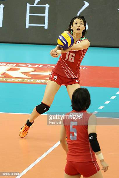 Saori Sakoda of Japan receives the ball in the match between Japan and Algeria during the FIVB Women's Volleyball World Cup Japan 2015 at Nippon...
