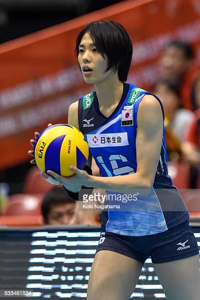 Saori Sakoda of Japan serves the ball during the Women's World Olympic Qualification game between Netherlands and Japan at Tokyo Metropolitan...