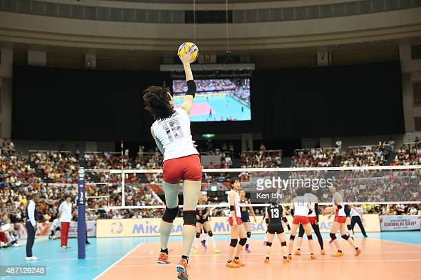 Saori Sakoda of Japan serves the ball in the match between Japan and China during the FIVB Women's Volleyball World Cup Japan 2015 at Nippon Gaishi...