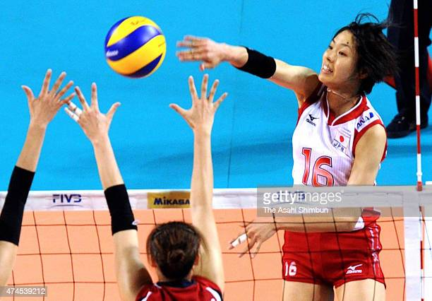 Saori Sakoda of Japan spikes the ball during the FIVB World Grand Prix Pool L match between Japan and South Korea at Ariake Colosseum on August 20...
