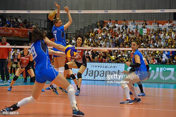 Saori Sakoda of Japan spikes the ball during the Women's World Olympic Qualification game between Japan and Italy at Tokyo Metropolitan Gymnasium on...