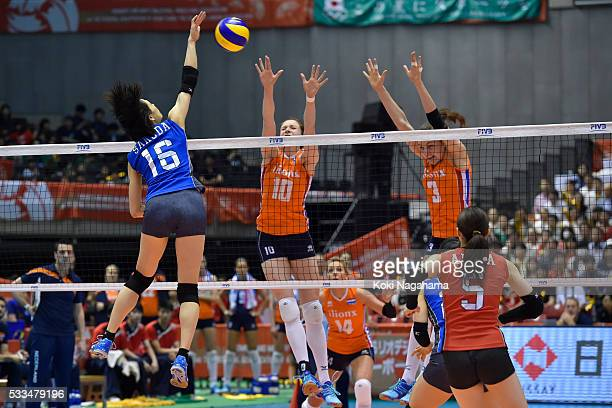 Saori Sakoda of Japan spikes the ball during the Women's World Olympic Qualification game between Netherlands and Japan at Tokyo Metropolitan...