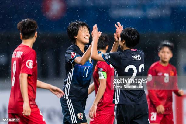 Saori Takarada of Japan celebrating her score with Jun Endo during their AFC U19 Women'u2019s Championship 2017 Group Stage B match between Japan and...