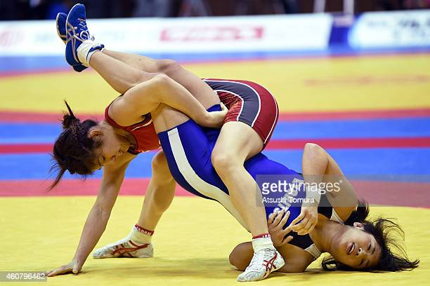 Saori Yoshida and Nanami Irie compete in Women's 53kg free style during 2014 Emperor's Cup All Japan Wresting Championship on December 23 2014 in...