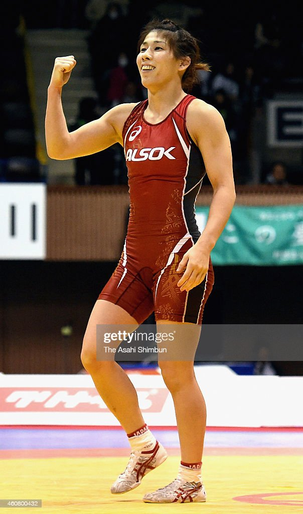 <a gi-track='captionPersonalityLinkClicked' href=/galleries/search?phrase=Saori+Yoshida&family=editorial&specificpeople=2374710 ng-click='$event.stopPropagation()'>Saori Yoshida</a> celebrates winning the Women's 53kg free style final match against Chiho Hamada (not pictured) during day three of the 2014 Emperor's Cup All Japan Wrestling Championshipss at Yoygi Gymnasium on December 23, 2014 in Tokyo, Japan.