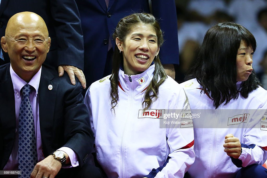 <a gi-track='captionPersonalityLinkClicked' href=/galleries/search?phrase=Saori+Yoshida&family=editorial&specificpeople=2374710 ng-click='$event.stopPropagation()'>Saori Yoshida</a> (C) looks on with the Rio Olympic Games national team the Woman's 53kg free style during All Japan Wrestling Championships at Yoyogi National Gymnasium on May 29, 2016 in Tokyo, Japan.