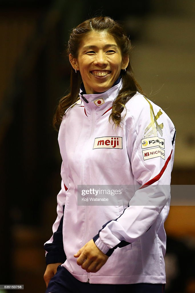 <a gi-track='captionPersonalityLinkClicked' href=/galleries/search?phrase=Saori+Yoshida&family=editorial&specificpeople=2374710 ng-click='$event.stopPropagation()'>Saori Yoshida</a> looks on with the Rio Olympic Games national team the Woman's 53kg free style during All Japan Wrestling Championships at Yoyogi National Gymnasium on May 29, 2016 in Tokyo, Japan.
