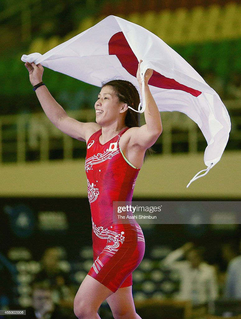 <a gi-track='captionPersonalityLinkClicked' href=/galleries/search?phrase=Saori+Yoshida&family=editorial&specificpeople=2374710 ng-click='$event.stopPropagation()'>Saori Yoshida</a> of Japan celebrates after winning the gold medal in the Women's 53kg during day four of the FILA World Wrestling Championships at Gymnastics Palace on September 11, 2014 in Tashkent, Uzbekistan.