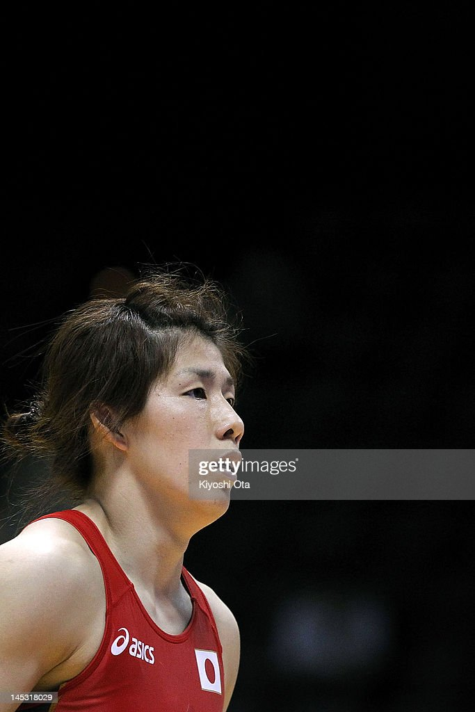 <a gi-track='captionPersonalityLinkClicked' href=/galleries/search?phrase=Saori+Yoshida&family=editorial&specificpeople=2374710 ng-click='$event.stopPropagation()'>Saori Yoshida</a> of Japan reacts after beating Kelsey Campbell of the United States in the 55kg division of the second round match between Japan and the United States during day one of the 2012 Female Wrestling World Cup at Yoyogi National Gymnasium on May 26, 2012 in Tokyo, Japan.