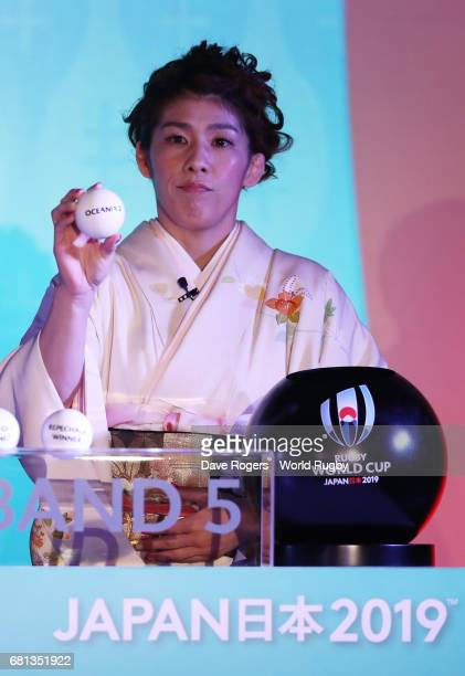 Saori Yoshida Olympic freestyle wrestler of Japan draws Oceania 2 during the Rugby World Cup 2019 Pool Draw at the Kyoto State Guest House on May 10...