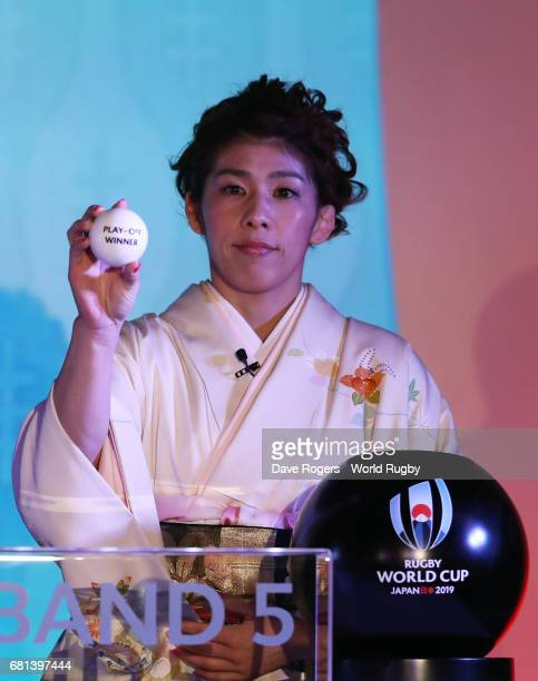 Saori Yoshida Olympic freestyle wrestler of Japan draws Play Off Winner during the Rugby World Cup 2019 Pool Draw at the Kyoto State Guest House on...