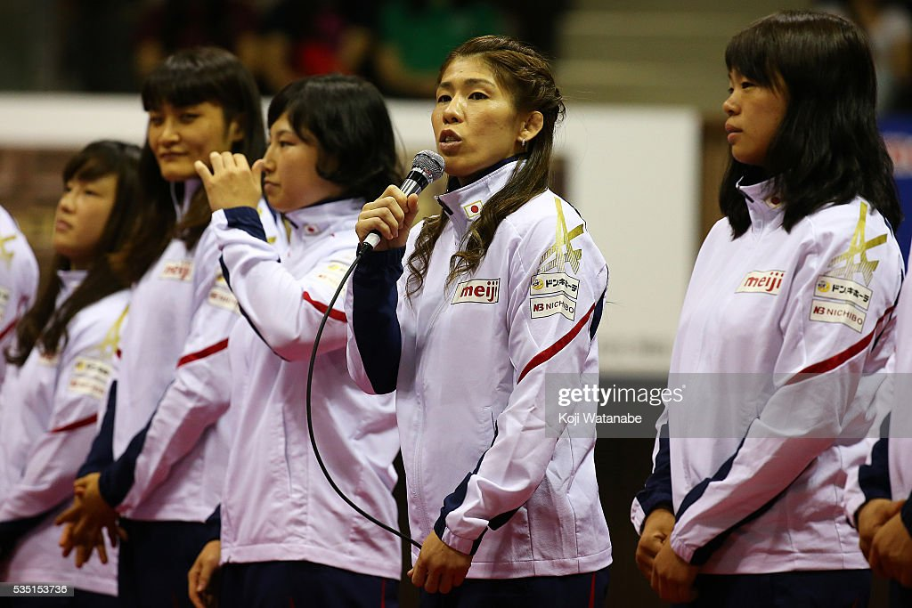 <a gi-track='captionPersonalityLinkClicked' href=/galleries/search?phrase=Saori+Yoshida&family=editorial&specificpeople=2374710 ng-click='$event.stopPropagation()'>Saori Yoshida</a> (R2) spekes in Rio Olympic Games national team the Woman's 53kg free style during All Japan Wrestling Championships at Yoyogi National Gymnasium on May 29, 2016 in Tokyo, Japan.