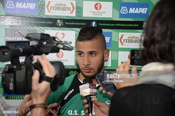 Saphir Taider attends the press conference unveiling him as the new signing for US Sassuolo Calcio on September 12 2014 in Sassuolo Italy