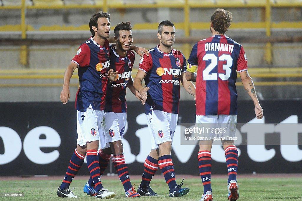 Saphir Taider (2nd L) of Bologna FC celebrates with his teamates after scoring his team's second goal during the TIM Cup match between Bologna FC and AS Varese at Stadio Renato Dall'Ara on August 18, 2012 in Bologna, Italy.