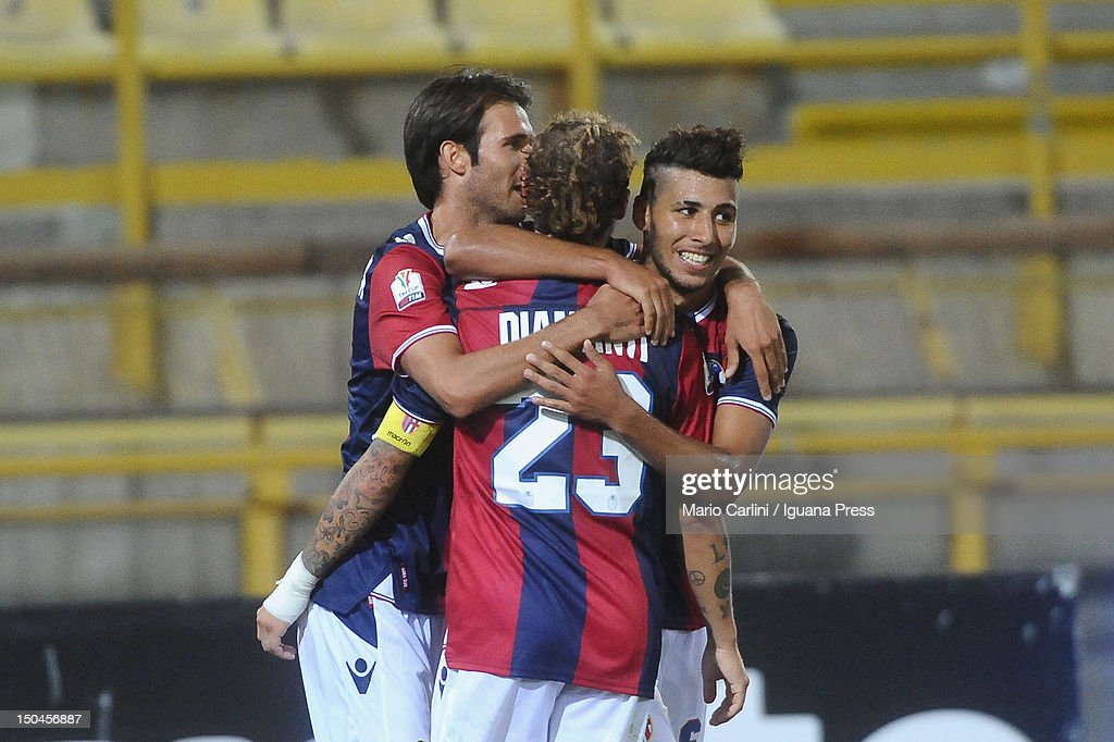Saphir Taider (R) of Bologna FC celebrates with his teamates after scoring his team's second goal during thw TIM Cup match between Bologna FC and AS Varese at Stadio Renato Dall'Ara on August 18, 2012 in Bologna, Italy.