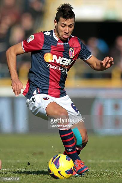 Saphir Taider of Bologna FC in action during the Serie A match between Bologna FC and AS Roma at Stadio Renato Dall'Ara on January 27 2013 in Bologna...