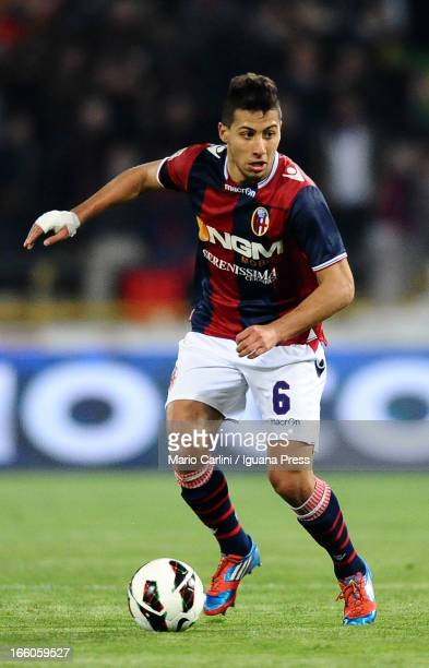 Saphir Taider of Bologna FC in action during the Serie A match between Bologna FC and Torino FC at Stadio Renato Dall'Ara on April 6 2013 in Bologna...