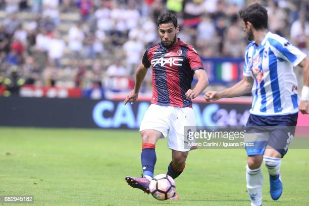Saphir Taider of Bologna FC in action during the Serie A match between Bologna FC and Pescara Calcio at Stadio Renato Dall'Ara on May 14 2017 in...