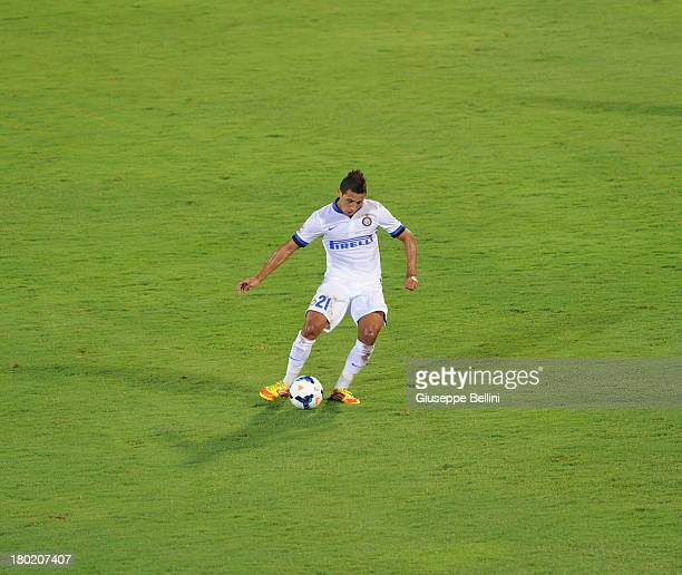 Saphir Taider of Inter in action during the Serie A match between Calcio Catania and FC Internazionale Milano at Stadio Angelo Massimino on September...